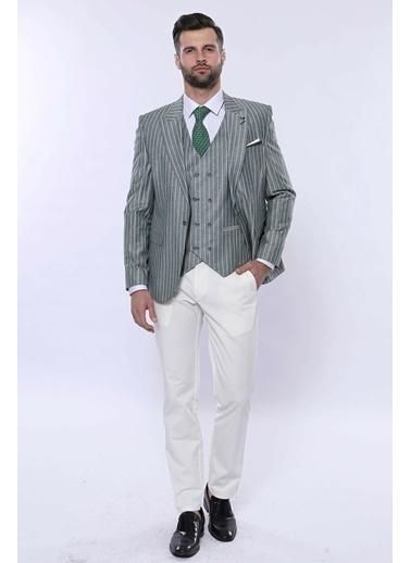 Wessi Erkek Çizgili Ceketli Yelekli Slim Fit Takım Elbise Yeşil